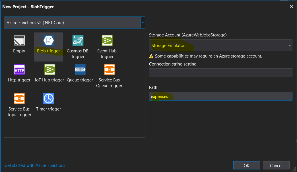 azure storage emulator add blob