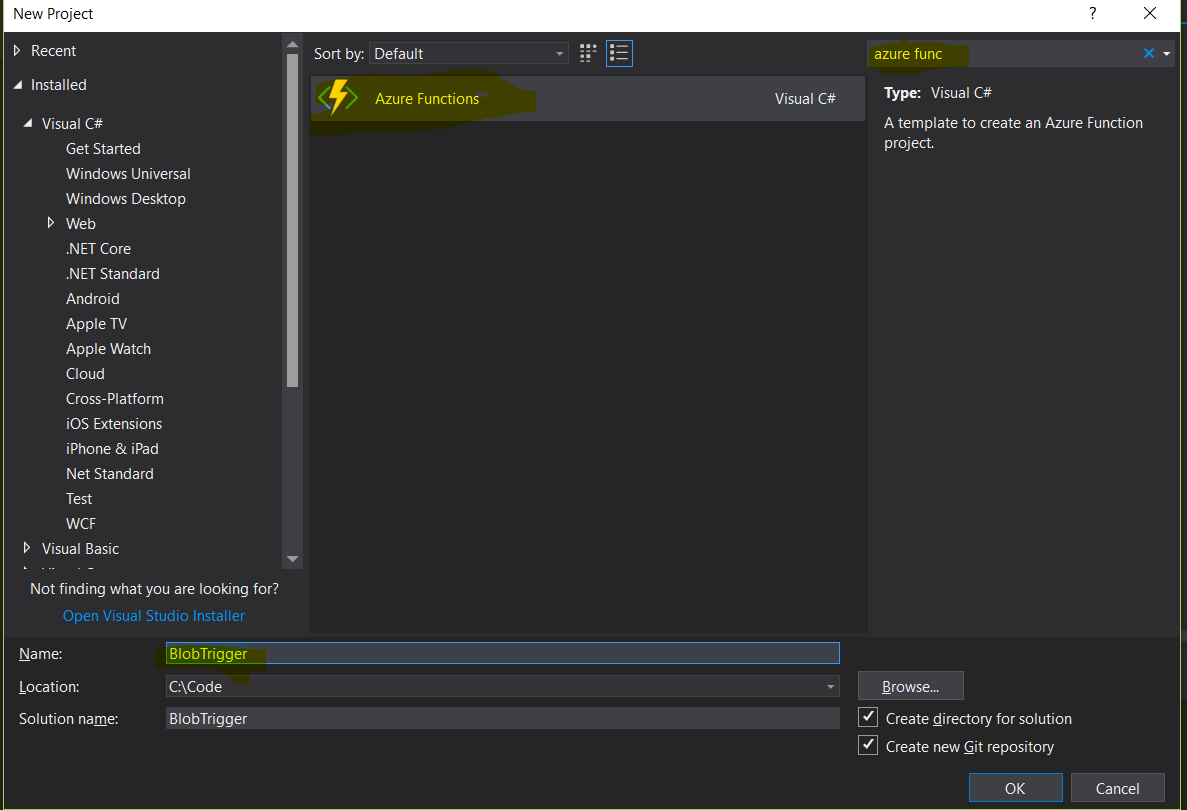 Azure functions – Blob storage trigger to Process CSV in C#